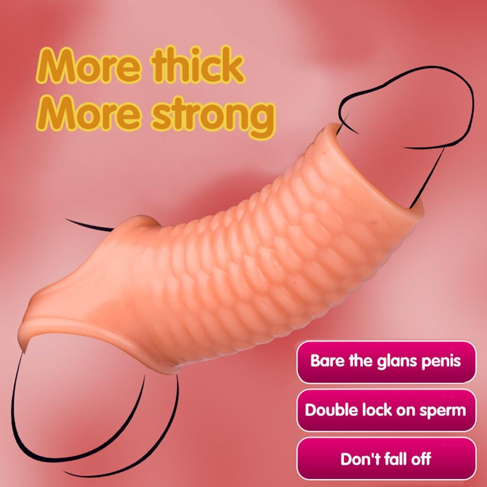 Силиконовый гибкий рукав для увеличения члена Увеличитель Члена удлинитель для задержки эякуляции кольцо для пениса взрослые секс-игрушки...