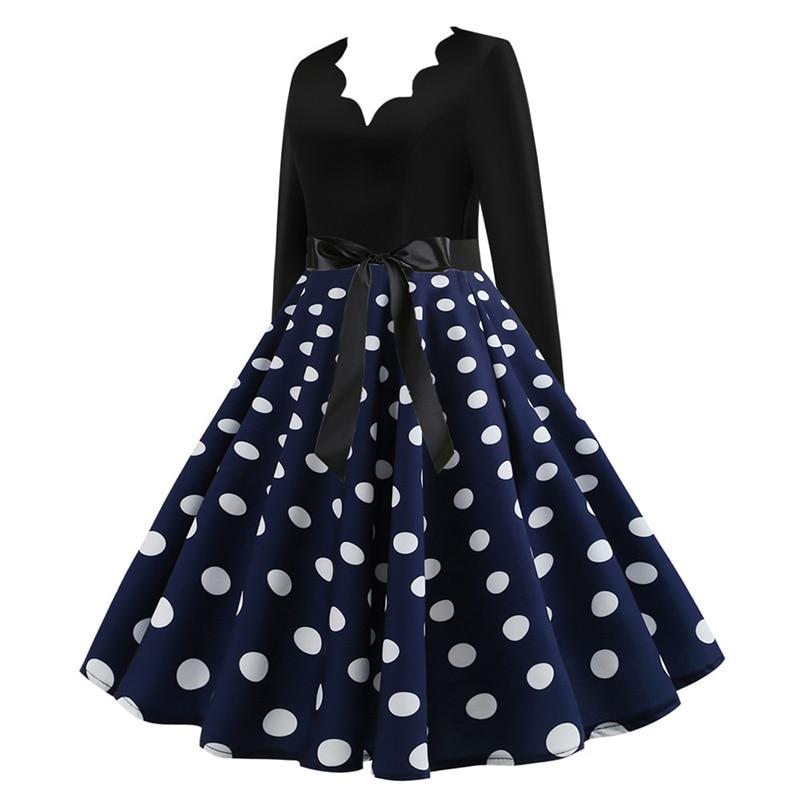 Women Long Sleeve Winter Vintage Dresses Sexy Black Music Note Print V-neck Rockabilly Pin up Party Dress Vestidos Plus size 558