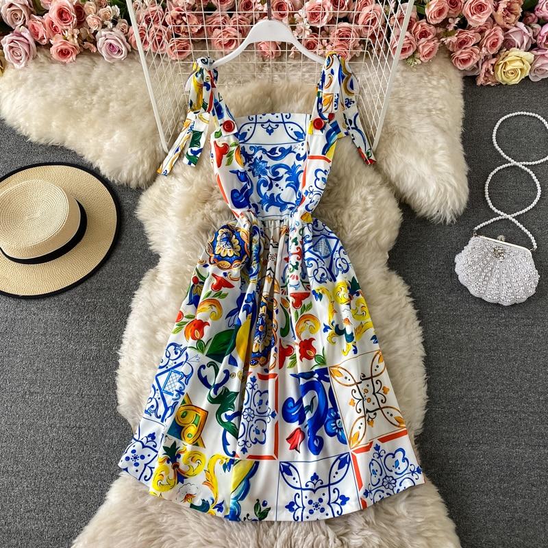 Banulin 2021 HOT Summer Runway Boho Dress Women's Bow Spaghetti Strap Backless Blue and White Porcelain Floral Print Mini Dress