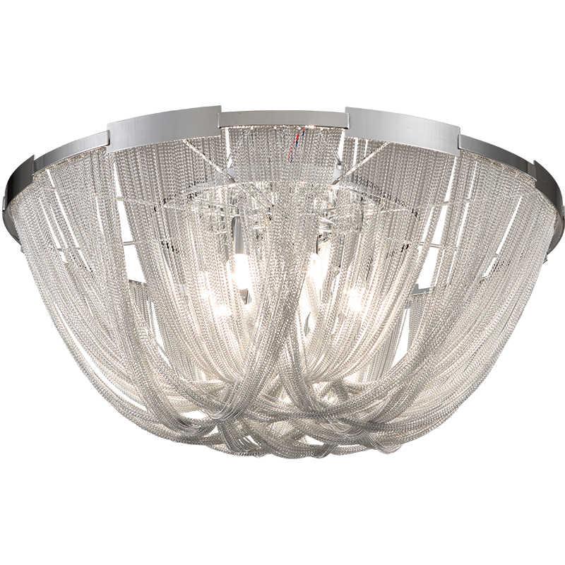 イタリアデザインシルバーアートシャンデリアエンジニアリングデザインの高級チェーンタッセルアルミチェーン Led シャンデリア照明