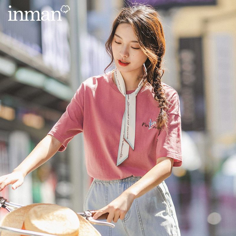 INMAN 2025 Spring New Arrival Cotton Embroidered Literary Fashion Leisure Girlish Youth Half Sleeve T-shirt
