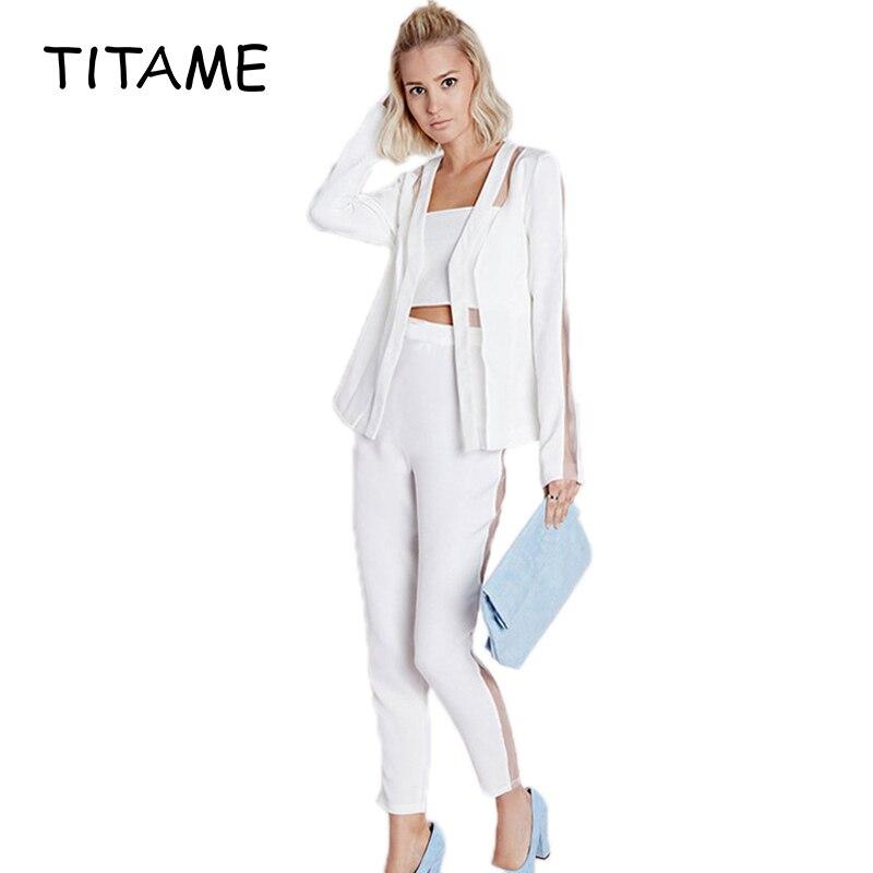 TITAME Women 2 Pieces Blazer Set Mesh Patchwork Sexy Women Suits Office Sets Women Business Suits Office Suits Jackets Pants