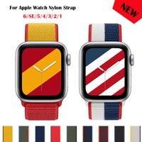 Correa de nailon para Apple Watch, pulsera deportiva de 44mm, 42mm, 40mm y 38mm, IWatch 6/SE/5/4/3/2/1