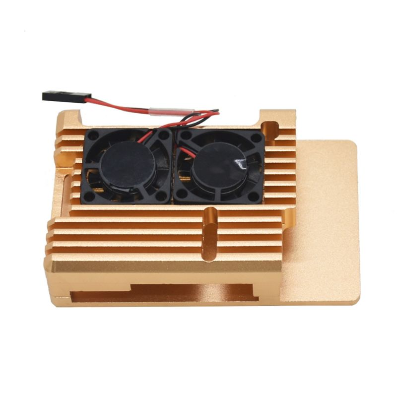 Aluminum Alloy Metal Case Protective Shell With Dual Cooling Radiator Fan For Raspberry Pi 4 Model B/B+