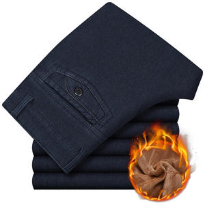 Business-Jeans Trousers Black Pants Classic Winter Fleece Male Straight Mens New