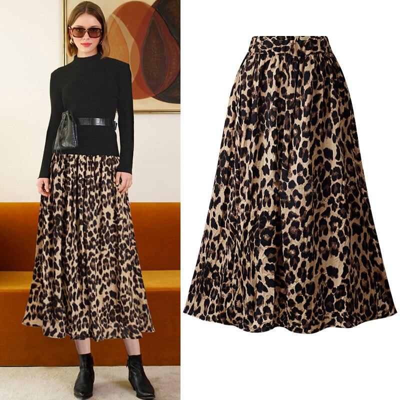 High Waist Leopard Skirt Elastic Pleated Women Fashion Animal Printed Large Size 6XL 5XL Ladies Elegant Female Jupes Falda Saias