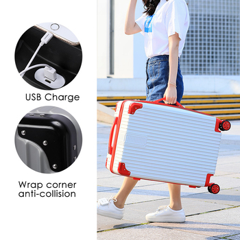 "28/26/24/22/20"" USB Charging Rolling Luggage Password Box Light Suitcase чемодан сумка на колесах 캐리어"