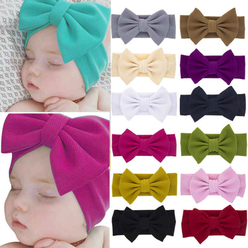 Bowknot Cute Infant Girls Headwear Band Solid Sot diademas 2019 New Baby turbante diadema banda para el cabello accesorios para la cabeza