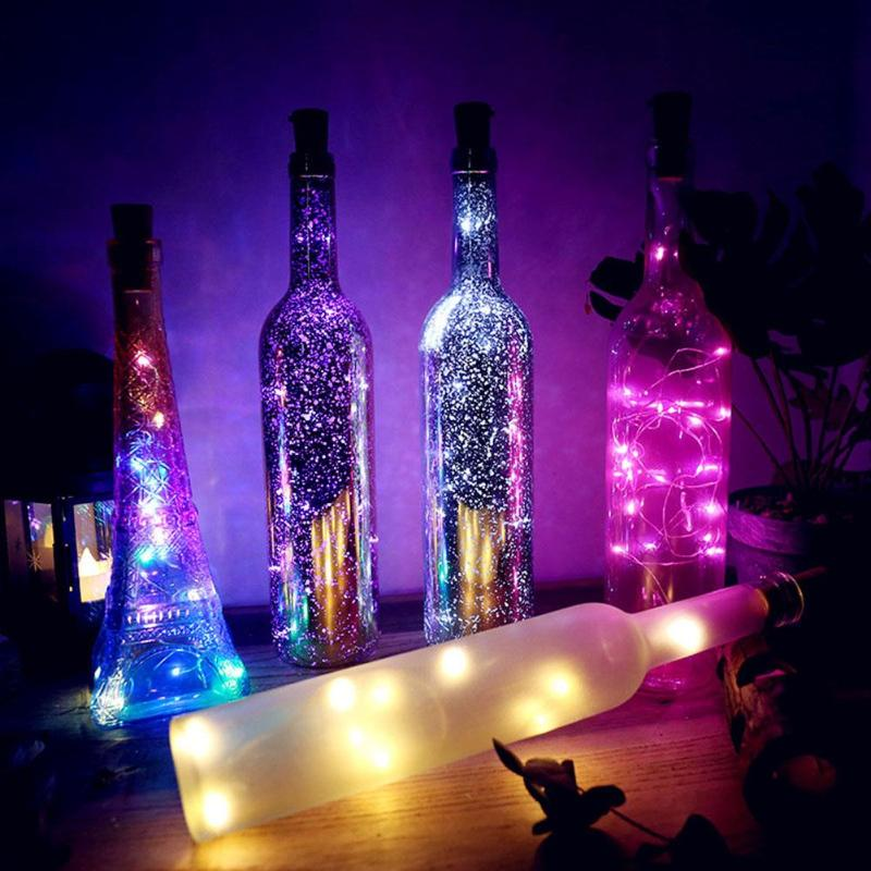 1/2M 10/20 LEDS Wine Bottle Lights Cork Garland DIY LED Cork Shape Silver Copper Wire Colorful Fairy Mini String Lights