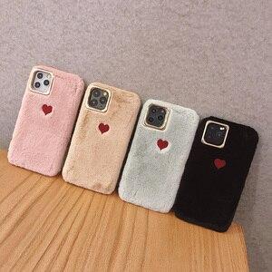 Image 5 - 2019 sıcak satış sınırlı sayıda düz renk çift aşk peluş yumuşak silikon cep telefonu kılıfı Iphone 11 durumda rahat