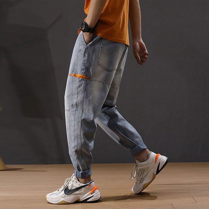 Fashion Streetwear Men Jeans Light Blue Loose Fit Multi Pockets Harem Pants Spliced Designer Hip Hop Jeans Men Pencil Pants