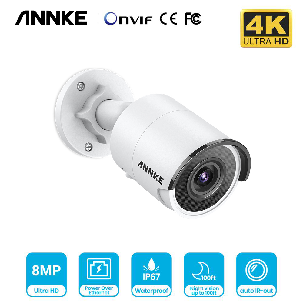 ANNKE 1PCS Ultra HD 8MP POE Camera 4K Outdoor Indoor Weatherproof Security Network Bullet EXIR Night Vision Email Alert CCTV Kit