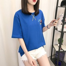 Summer T-shirt Fashion Loose Embroidery Cartoon Print T-shirt Casual Style Round Ladies Neck Short-sleeved stylish round neck embroidery hole t shirt