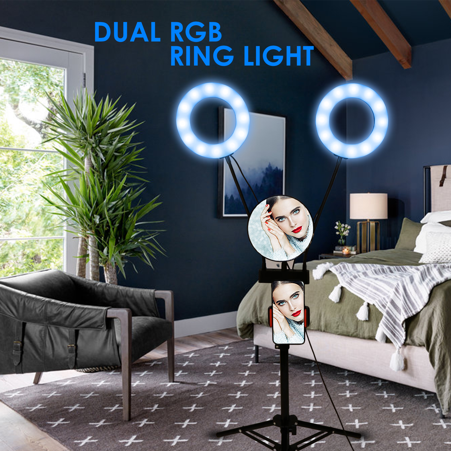 Remote Control Dual RGB Ring Light with Tripod Stand Photography Lamp Selfie Fill Ring Lights for Stream/Makeup/Vlog w/Mirror