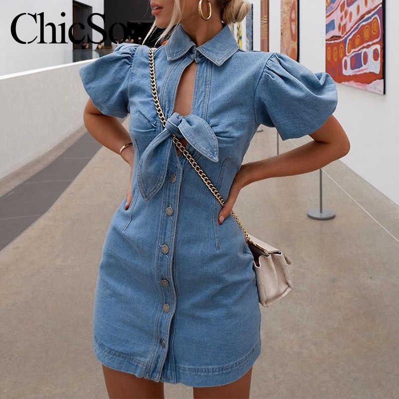 MissyChilli Hollow out denim niebieska sukienka kobiety eleganckie bodycon bufiaste rękawy krótka sukienka wiosna lato sexy imprezowy streetwear sukienka