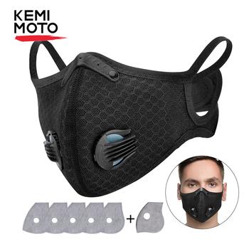 KEMIMOTO maski motocyklowe maski na twarz PM2 5 węgla przeciw zanieczyszczeniom maska sportowa mężczyźni kobiety Unisex wielokrotnego użytku wymienne filtry tanie i dobre opinie Oddychające Plus size Wiatroszczelna Anti-pollution PM 2 5 Unisex Men Women Free size