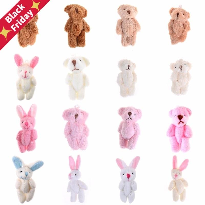 Cute Soft Mini Joint Rabbit Pendant Plush Bunny Toy Doll DIY Key Chain Gifts LL