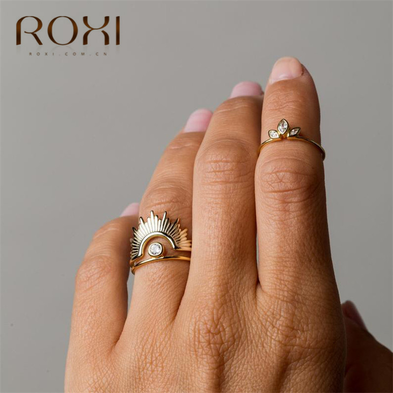 ROXI Dainty White Crystal Rings For Women Simple Horse Eye Rhinestone Wedding Rings Engagement Gifts 925 Sterling Silver Rings