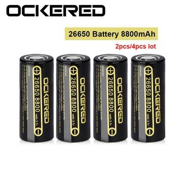 OCKERED Brand 3.7V 26650 Battery 8800mAh Li-ion Rechargeable Battery For LED Flashlight Torch Li-ion Battery accumulator battery hg2 rechargeable li ion battery