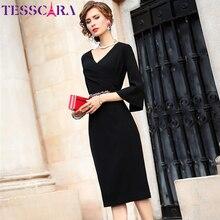 Женское платье с бисером TESSCARA, элегантное офисное вечернее платье, дизайнерское платье карандаш в стиле знаменитости