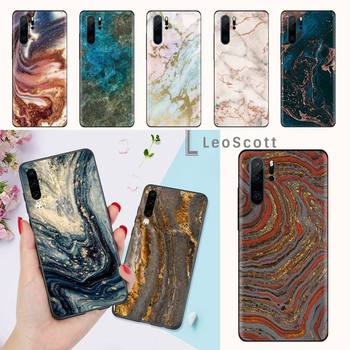 gold marble glitter pattern Phone Case For Huawei honor Mate P 9 10 20 30 40 Pro 10i 7 8 a x Lite nova 5t image