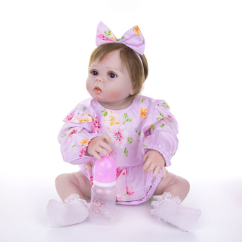 "NPK real baby victoria girl 23"" full body silicone reborn baby dolls rooted new hair bebes reborn kids toy gift bonecas"