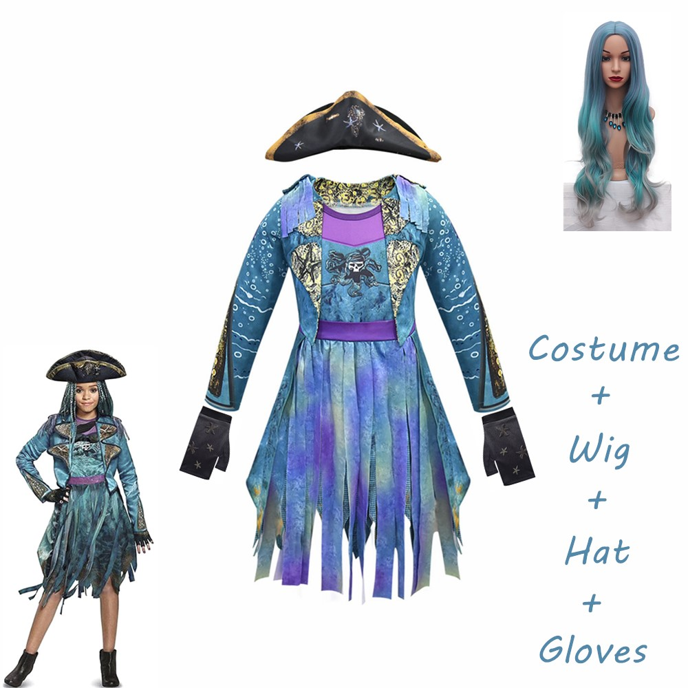 2020 Mardi Gras Blue Descendants 3 Uma Costumes Long Sleeves Party Funny Cosplay Girls Wig+dress Halloween Costume For Kids