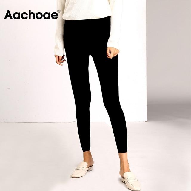 Aachoae Autumn Winter Women Leggings 2020 Solid Casual Slim Pants Trousers High Waist Sportwear Ladies Ankle Length Leggings 2