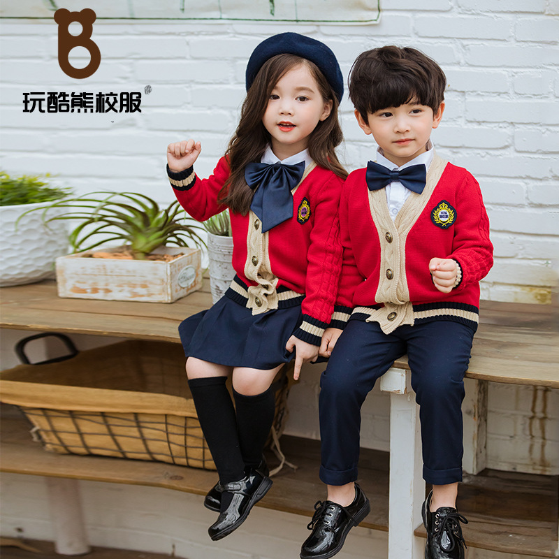 Play Cool Bear Primary School STUDENT'S School Uniform Customization 5 Children Sweater Cardigan Combo 8 Kindergarten Suit Sprin