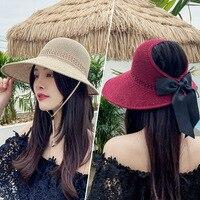 Sombrero con sombrilla de mujer, sombrero vacío con lazo, grandes aleros, protector solar al aire libre, sombrero de Sol de playa, sombrero de paja de pescador plegable, 2021