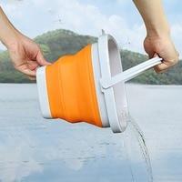 3l/5l portátil silicone dobrável balde de pesca durável leve sulco balde água com alça para acampamento pesca caminhadas