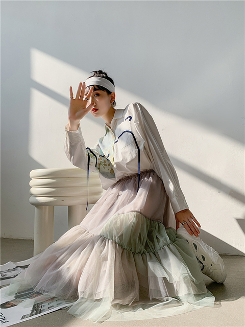 CHEERART Autumn Aesthetic Shirt Long Sleeve Top Women Blouse Cotton Print Button Up Collar Designer Shirt Fashion 2020 6