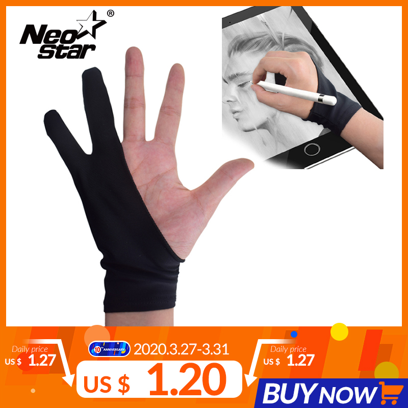 NEO STAR Two-fingers Artist Anti-touch Glove For Drawing Tablet Right And Left Hand Glove Anti-Fouling For Ipad Screen Board
