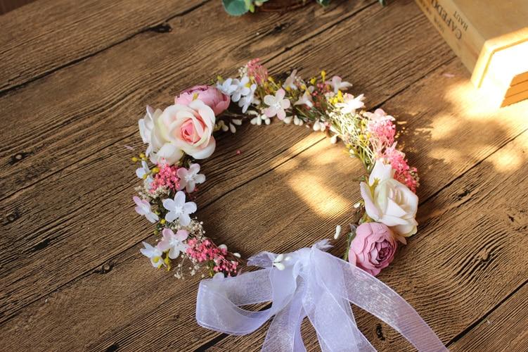 Boho Flower Girl Crown Headpiece Bohemia Floral Hair Wreath Headband Women Hairwear Wedding Bridal Accessories