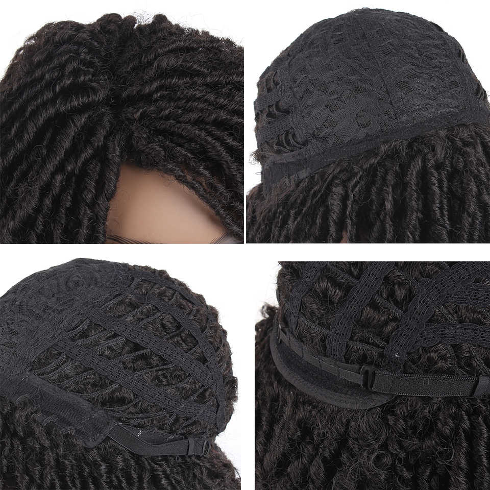 Leeven 8inch Synthetic Dreadlock Wigs with the curls at the  End Crochet Braids Wig For Woman Ombre Black Brown Soft Hair