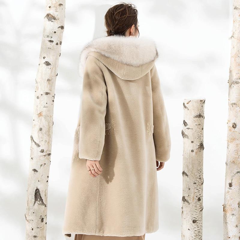 Real Fur Coat Women Sheep Shearing Winter Coat Women Real Fox Fur Collar Jacket Women Clothes 2020 Manteau Femme F808 YY1025