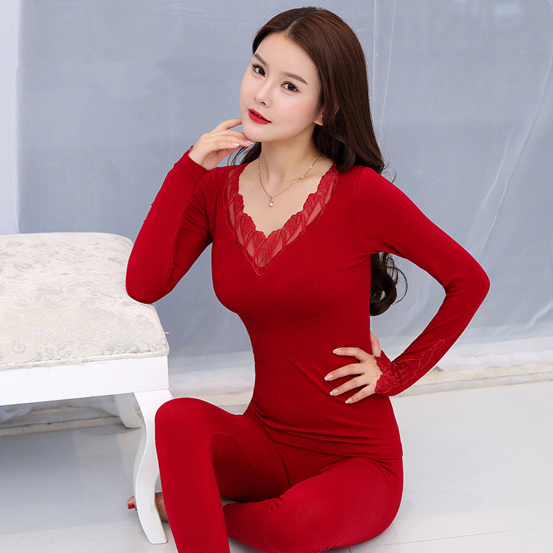 New Elegant Black Sexy V-neck Thermal Underwear For Women Embroidery Lace Long Johns Especially Female Winter Warm Thermal Suit