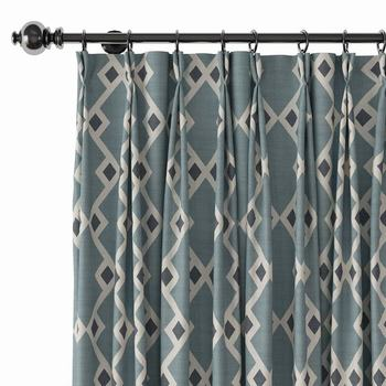 Pinch Pleat Nickel Grommet Print Blackout Curtain Drapery with Liner ChadMade Cole (1 Panel) Size and Header Type Custom