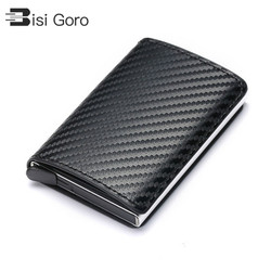 BISO GORO 2019 Business ID Credit Card Holder Men and Women Metal RFID Vintage Aluminium Box PU Leather Card Wallet Note Carbon