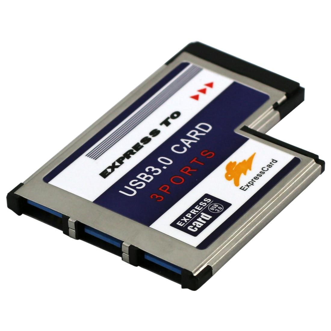 3 Ports Hidden Inside USB 3.0 To Expresscard 54mm USB3.0 Adapter Converter For PCMCIA Express Card Laptop Notebook PC