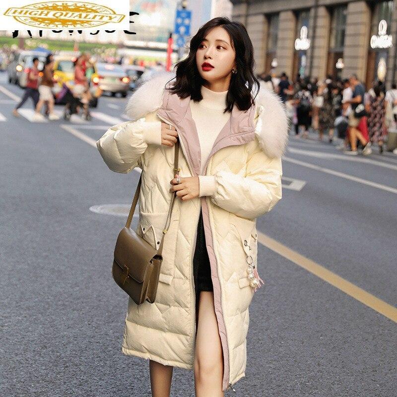 Duck Down Jacket Women Clothes 2019 Winter Coat Women Raccoon Fur Collar Hooded Korean Puffer Jacket Women Warm Parka YY2045