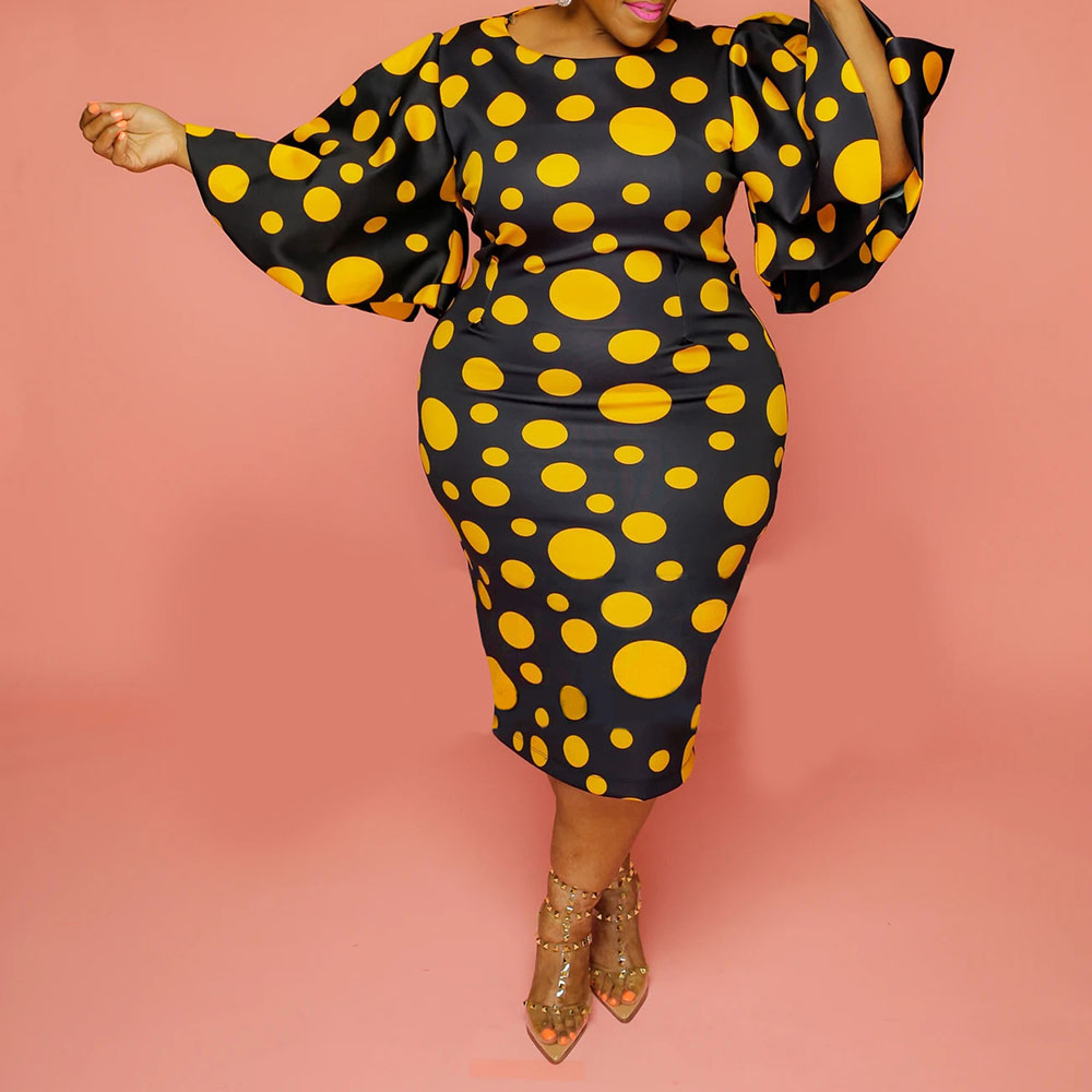 vintage plus size dress for women 3XL 4XL 5XL retro yellow polka dot print falre sleeve bodycon midi party office african dress 2