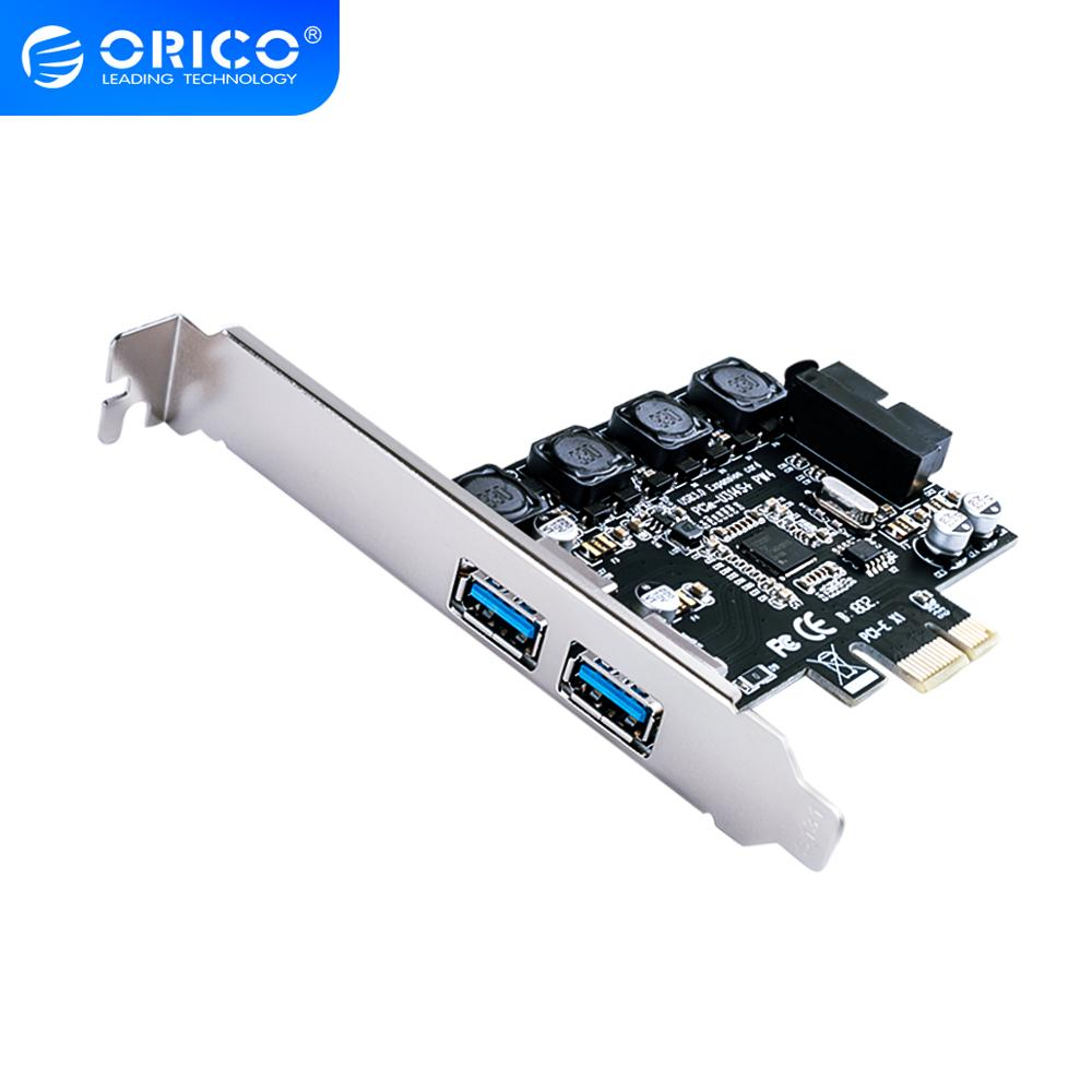 ORICO <font><b>2</b></font> Port USB 3.0 PCI-E Express Card to <font><b>USB3.0</b></font> Controller hub 19pin Front-facing Expansion Card <font><b>5</b></font> Gbps Super Speed Adapter image