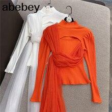 Haut col et manches longues pour femme, nouvelle mode, sexy, ajure, patchwork, bord en maille, tricot, bas, RD721, hiver