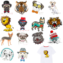 Iron on Transfers Cute Dog Patches Hot Transfer Sticker For Kids Stripes Clothes DIY Stickers A-level Washable Appliques E