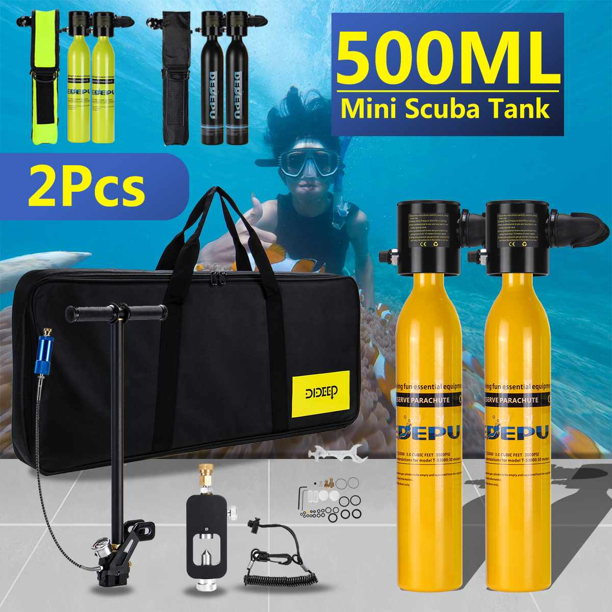 500ml Diving System Mini Scuba Cylinder Scuba Oxygen Reserve A.ir Tank Pump Aluminum Box Snorkeling Diving Equipment Set
