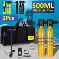 500ml Tauchen System Mini Scuba Zylinder Scuba Sauerstoff Reserve EIN. ir Tank Pumpe Aluminium Box Schnorcheln Tauchen Ausrüstung Set