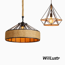 Retro Metal Hemp Rope Pendant Lamp Diamond Yurt Suspension Light Hotel Bar Living Dining Bedroom Creative Industrial Lighting