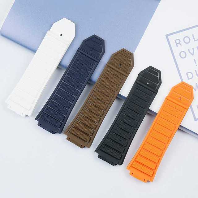 New rubber waterproof and sweat-proof men's watch belt for Hublot casual series 29mmx19mm ladies silicone watch accessories 1