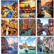 Venise peinture par numéros sur toile avec cadre Kits de bricolage pour adultes dessin peinture acrylique huile photo de coloriage par numéros Art